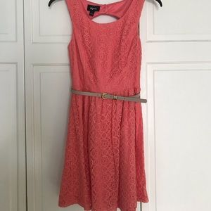 Peachy Pink Skater Cut-Out Back Dress